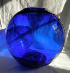 """VTG '60s Hand-Blown LARGE Cobalt Blue Vase Globe - 10+"""" & Fabulous"""