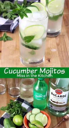 Cucumber Mojitos are one of the most refreshing and delicious cocktails you'll ever taste! Great for hot summer days and so easy to mix up by the glass. Cocktails For Parties, Easy Cocktails, Fun Drinks, Yummy Drinks, Beverages, Alcoholic Drinks, Vodka Mojito, Cucumber Vodka, Mojito Cocktail