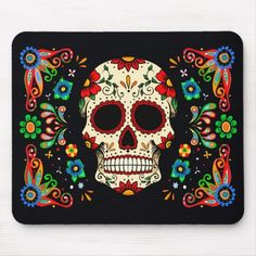 Make your desk your unique space with a new mouse pad from Zazzle! Funny Skeleton, Sugar Skull Design, Day Of The Dead Art, Custom Mouse Pads, Animal Skulls, Cool Art, Fun Art, Pink Glitter, Diy Face Mask
