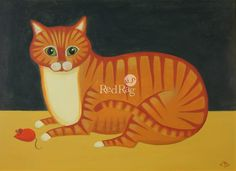 British art gallery for modern British paintings limited edition prints and contemporary art by leading contemporary British artists - Red Rag British Art Gallery. Street Art, Cat Sketch, Curious Cat, Orange Cats, Sculpture, Drawing, Artist Painting, Cat Art, Art Images