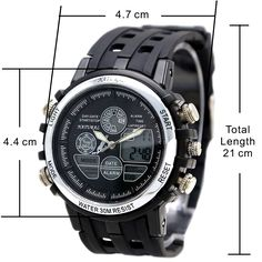 AW355B Dátum Podsvietenie voda Odolajte Unisex Silver Tone rámčeku Analog digitálne hodinky