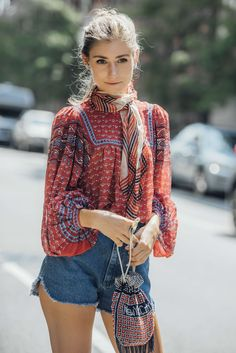 September 8, 2016 Tags Red, White, Blue, Fringe, Denim, Shorts, Women, Prints, Bags, Scarves, Blouses, New York, Jenny Walton, Kitten Heels, Beads, 1 Person, Buns, SS17 Women's, Ulla Johnson