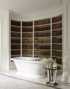 This is a neat place for a bookshelf. A bathroom library