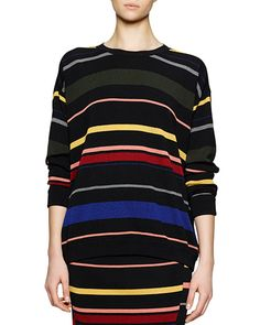STELLA MCCARTNEY Crewneck Striped Knit Top, Multi Color. #stellamccartney #cloth #