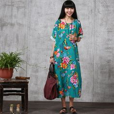 Casual Loose Fitting Oversized Cotton Long Dress by deboy2000