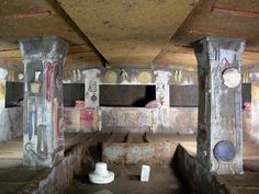 Cerveteri, Italy.  A tomb painted as an Etruscan house with all the supplies the dead might need in the afterlife.