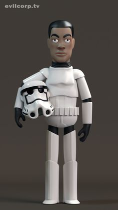 "Vinyl Figure of actor John Boyega in ""Star Wars: The Force Awakens"" (vía Evil Corp TV)."