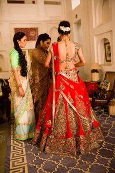 Voluminous red bridal lehenga …