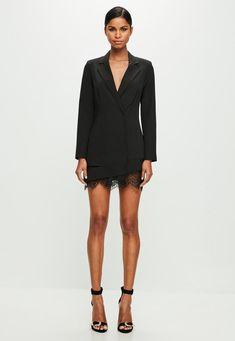 Missguided - Peace   Love Black Lace Hem Dress