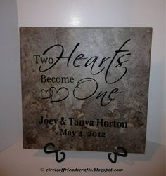 Two Hearts Become One - Wedding Tile