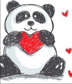 Panda love Panda Love, Love Bear, Square One Art, Cute Panda Drawing, Panda Nursery, Cute Valentines Day Ideas, Chibi Cat, Cartoon Panda, Panda Gifts