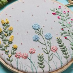 Creative Embroidery, Embroidery Kits, Embroidery Stitches, Floral Embroidery Patterns, Flower Patterns, Anchor Threads, Eid Crafts, Floral Letters, Arte Floral