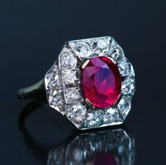 Art Deco 2.60 Ct Burmese Ruby Diamond Platinum White Gold Engagement Ring, Circa 1925