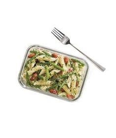 Green Bean and Pasta Salad: INGREDIENTS  4ounces penne (1 1/4 cups) 4ounces green beans, halved crosswise (about 1 cup)  campaignIcon 1cup canned red or kidney beans, rinsed 1/4cup chopped fresh flat-leaf parsley 2tablespoons grated Parmesan (2 ounces) 2tablespoons olive oil  campaignIcon 2tablespoons fresh lemon juice kosher salt and black pepper