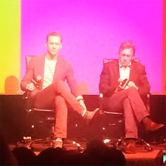 """Tom Hiddleston and Hugh Laurie at the Emmy FYC """"The Contenders"""" event at the DGA Theater, April 10, 2016. Source: https://www.instagram.com/p/BECLNjSrzuU/"""