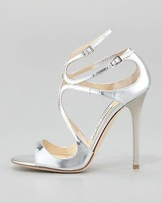 Jimmy Choo Lang Metallic Strappy Sandal Silver $850 New Sz 38 1 2 | eBay