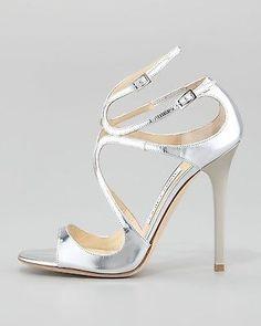 Jimmy Choo Lang Metallic Strappy Sandal Silver $850 New Sz 38 1 2 | eBay