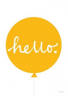 Hello Ballon Geel - Poster