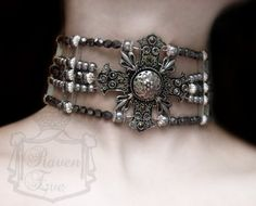 Byzantine Cross And Pearl Medieval Gothic Choker by Raven Eve Jewelry