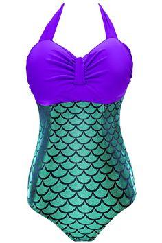 2a7d4068612bb Women Plus Size Retro Holographic Mermaid Bikini One Piece Bathing Suits