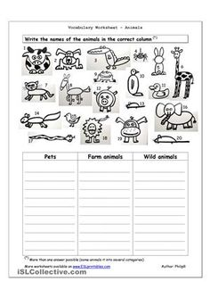 Worksheet containing 20 pictures of animals - pets, farm animals and wild animals (dog, cat, mouse, rat, rabbit, bird, spider, pig, cow, horse, duck, frog, lion, giraffe, elephant, snake, hippo, squirrel, penguin, crocodile). Students write the names of the animals in the correct column. (I hope you like my hand-drawn animals - no copyright issues with 'borrowed' clipart). - ESL worksheets