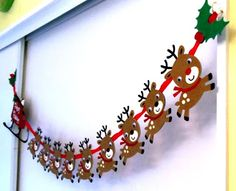 {The Santa and the Sleigh were from Joys of the Season. The reindeer Rudolph were from Create a Critter The Holly/Berry was from Winter Woodland.} What a great idea! Christmas Paper Crafts, Christmas Projects, Holiday Crafts, Holiday Fun, Holiday Banner, Christmas Banners, Christmas Decorations, Christmas Ornaments, Reindeer Decorations