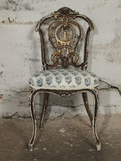 Divine C. Louis XV Giltwood Chair In Les Indiennes Fabric.