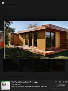 This modern prefab cabin, called the BlueSky MOD, is one of a few examples of affordable green modular homes currently available today (see these books for more examples). It was designed by Todd Saunders, an… Modular Cabins, Prefab Cabins, Modular Homes, Prefab Homes, Tiny Homes, Modern Cabins, Park Model Homes, Mini Loft, Higher Design
