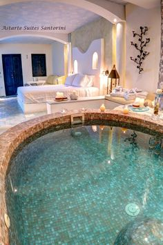 Honeymoon suite with private Jacuzzi - Astarte Suites Hotel in Santorini island, Greece #bedroom #suite @hotel_pictures