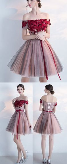 A-line Off-the-shoulder Cocktail Dress,Homecoming Dress With Red Appliques,Mini Dress With Belt,Appliqued Party Dress,Short Cocktail - Cocktail Dresses Trendy Dresses, Elegant Dresses, Sexy Dresses, Cute Dresses, Beautiful Dresses, Dress Outfits, Evening Dresses, Short Dresses, 1950s Dresses