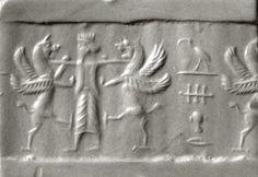 Cylinder seal and modern impression: king holding two lion griffins at bay  Period:Achaemenid Date:ca. 6th–5th century B.C. Geography:Iran Culture:Achaemenid Medium:Jasper, hematite Dimensions:1.1 in. (2.79 cm)