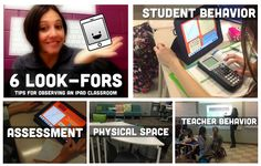 6 Look For's When Observing an iPad Classroom (ideas and examples range from student and teacher behavior to assessment, workflow, physical space, and more. Instructional Coaching, Instructional Technology, Educational Technology, Primary Classroom, Google Classroom, Student Behavior, Classroom Design, Ipads, Professional Development