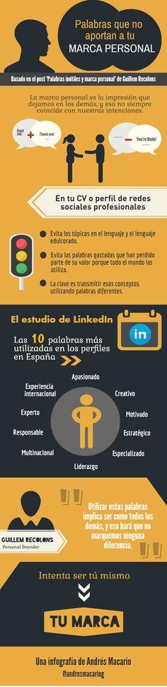 Palabras que no aportan a tu marca personal - Infografia Andres Macario