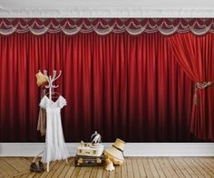 On Stage (P160202-0) - Mr Perswall Wallpapers - Re-creating that 1895 cinema's stage look with this curtain design. Shown here in red - also available in blue. Total mural size 450cm wide x 265cm high. SORRY SAMPLES NOT AVAILABLE. Paste-the-wall product.