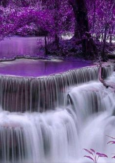 Feeling totally relaxed she closed her eyes. Strange images and shapes danced in her head to the sound of the waterfall. Shades of purple came and went behind her closed eyes. She felt strangely calm, almost like she was floating. Excerpt from THE COLOUR Beautiful Waterfalls, Beautiful Landscapes, Beautiful World, Beautiful Images, Beautiful Nature Scenes, Beautiful Gorgeous, Purple Aesthetic, Jolie Photo, Nature Wallpaper
