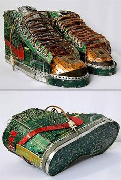 Artist Gabriel Dishaw used scrap computer and typewriter parts to make these incredible sneakers
