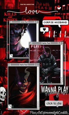 Corpse Husband aesthetic Wallpaper Red/Black