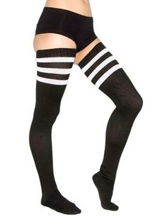 American Apparel Thigh-high Socks in Black/White- $18.00    These socks are so warm in the winter, and look very good with a pair of short athletic shorts.