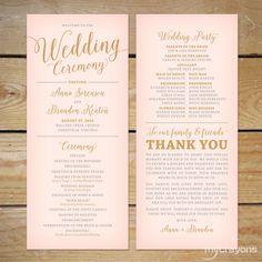 Blush Pink and Gold Wedding Program Printable by MyCrayonsDesign