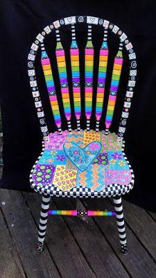 Brightly painted furniture…My Happy Chair makeover mysingingheartart… Hell gestrichene Möbel … My Happy Chair Makeover mysingingheartart … Art Furniture, Funky Furniture, Refurbished Furniture, Colorful Furniture, Repurposed Furniture, Furniture Chairs, Furniture Upholstery, Furniture Outlet, Furniture Stores