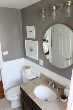 Bridget is finally done with her mini bathroom makeover and you won't believe what this shiplap bathroom looks like now! Come check it out.