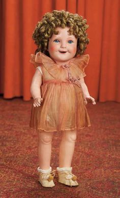 Composition Character Doll Portraying Shirley Temple - Theriault's - Probably German