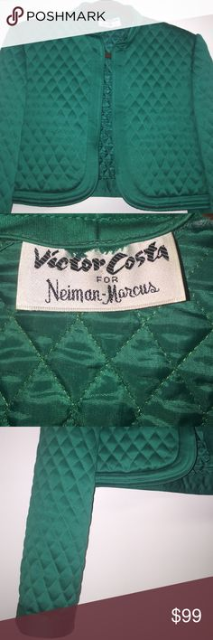 Vintage Victor Costa quilted crop jacket One of a kind Victor Costa jacket from Neiman Marcus label says large but fits the 8/10. Beautiful green for any time and especially the holidays. Wear with jeans, dress, skirt you name it! Victor Costa Jackets & Coats Blazers