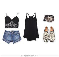 Summer Outfit | Top de renda, short jeans, regata, cinto e slipper. | Lace top, denim short, tank and slipper. #moda #look #outfit #looknowlook