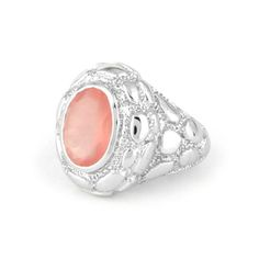 Rock On !! Get the bolder looks for your parties with this high finished textured unisexual ring with a center of attractive 4.7 ct pink rose quartz code HG0811RQ at www.metallierjewellery.com #Silver #jewellery #jewelry #texture #ring #london #germany #italy #UK #USA #Australia #Russia #Canada #fashion #India
