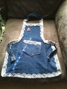 Toddler child denim and lace apron.  By Upcycled_Diva