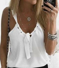 Casual Sexy Low Round Collar Sleeveless T-Shirt Casual Sexy Low Round Collar Sleeveless Tee Summer Outfits, Casual Outfits, Fashion Outfits, Womens Fashion, Fashion Clothes, Diy Clothes, Clothes For Women, Refashion, Sleeveless Blouse