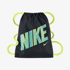 1e2d38ded lime green and black with lime green tick and lime green and light blue  logo // Graphic gym sack