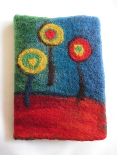 Hand-felted A5 Removeable Notebook Cover made by LittleDeb.  See more by LittleDeb on Pinterest, Etsy and Facebook. Notebook Covers, Journal Covers, Journal Notebook, Friedensreich Hundertwasser, Shetland Wool, A5, Merino Wool, Blanket, Books