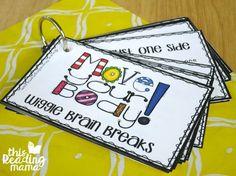 flip book of wiggle brain breaks                                                                                                                                                                                 More